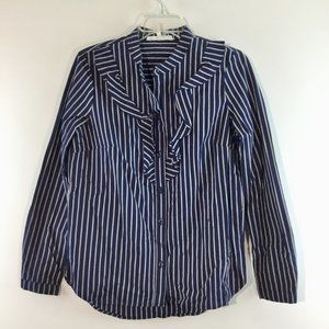 BCBGeneration NWOT ruffle front striped top Size S